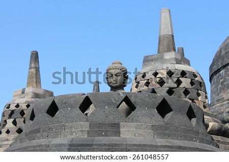 Borobudur temple, Java Indonesia. - stock photo