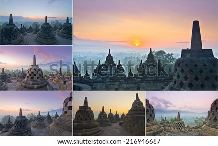 Borobudur Temple, Yogyakarta, Java, Indonesia in a group or collection of pictures - stock photo
