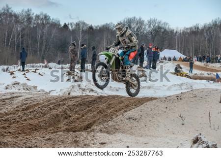 BORODINO, RUSSIA - FEBRUARY 1: Konstantin Gavrilov (49) team Gaspromneft MNPZ 1 on the track the All-Russian motocross named VP Chkalov on February 1, 2015 in Borodino, Russia - stock photo