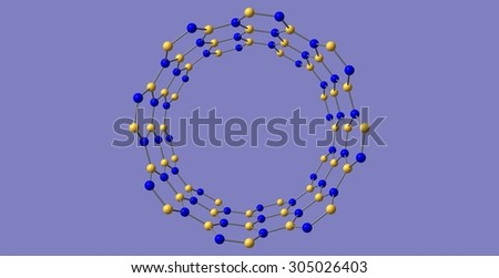 Boron nitride nanotube structure isolated on blue background - stock photo