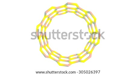 Boron nitride nanotube structure isolated on white background - stock photo