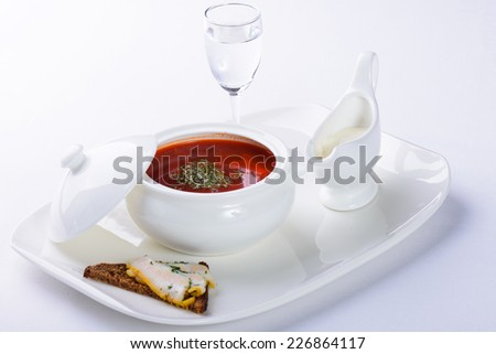 borsch with beet on white background - stock photo