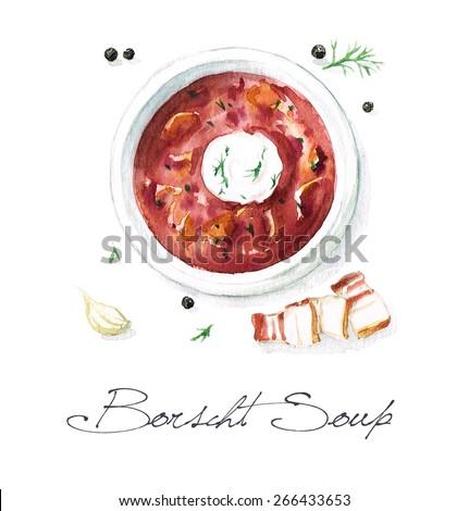 Borscht Soup - Watercolor Food Collection - stock photo