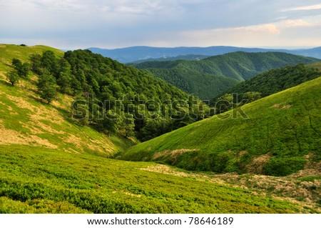 Borzhava ridge slopes in green Carpathians - stock photo