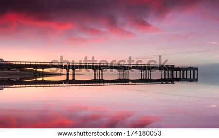 Boscombe Beach and Pier at Bournemouth in Dorset - stock photo