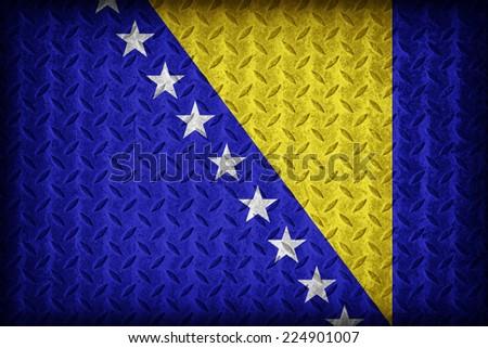 Bosnia and Herzegovina flag pattern on the diamond metal plate texture ,vintage style - stock photo