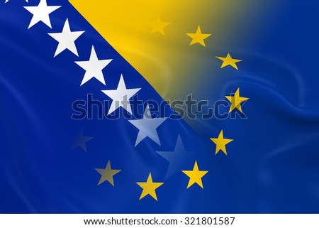 Bosnian and Herzegovinian and European Relations Concept Image - Flags of Bosnia and Herzegovina and the European Union Fading Together - stock photo