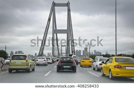 Bosphorus Bridge Traffic at Rush Hour , Location: Istanbul - stock photo