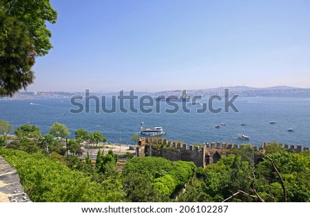 Bosphorus Strait in Istanbul, Turkey. View from Gulhane Park - stock photo