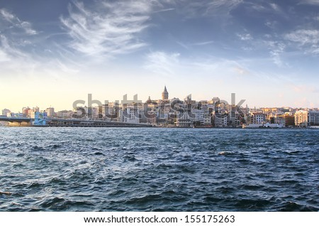 Bosphorus with a old town on a background, Istambul - stock photo