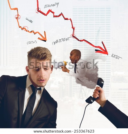 Boss chides his employee of low profits - stock photo