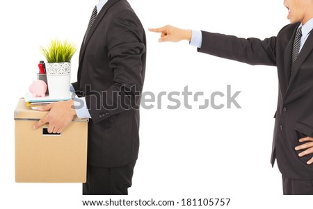 Boss dismisses employee . isolated on white background - stock photo