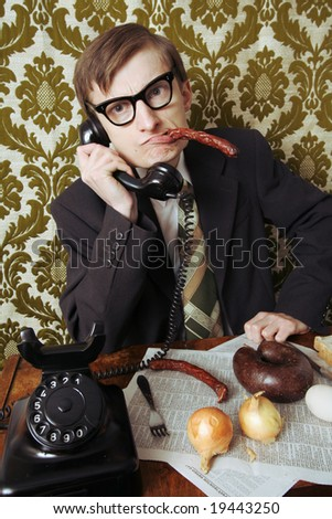 Boss is disturbed while having a lunch break - stock photo