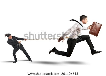 Boss tries to strongly retain his employees - stock photo