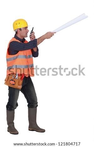 Bossy foreman - stock photo