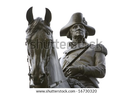 BOSTON 2008:  An equastrian statue of General George Washington on public display at the Boston Public Garden, a public park. - stock photo