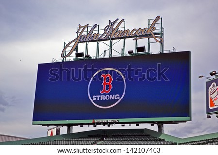 BOSTON - APR 20: Boston Strong message in Fenway Park in USA, in Boston,USA on April 20,2013. 3 people killed and over 100s injured during Boston Marathon bombing on April 15, 2013. - stock photo