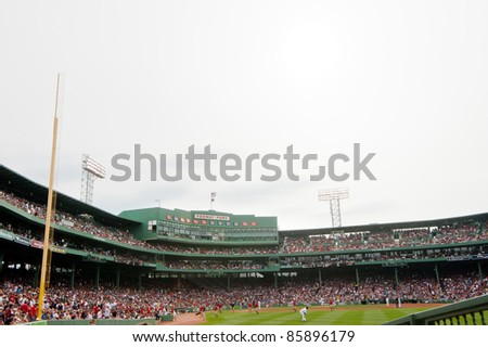 Boston - August 8: The oldest MLB ballpark currently in use, historic Fenway Park, home of the Boston Red Sox on August 8, 2011 in Boston, Massachusetts. - stock photo