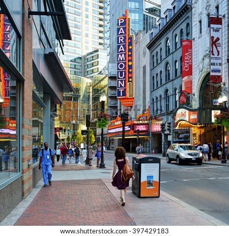BOSTON - August 19: Washington Street Theater District in Boston on August 19, 2015. The district has several venues for the performing arts like Emerson's Paramount Center and the Boston Opera House. - stock photo