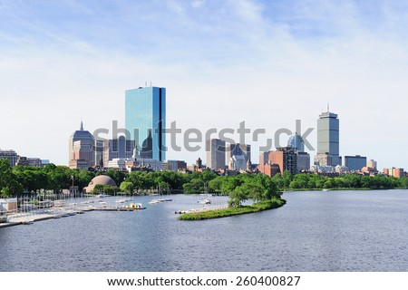 Boston back bay panorama with sailing boat and urban building city skyline in the morning.  - stock photo