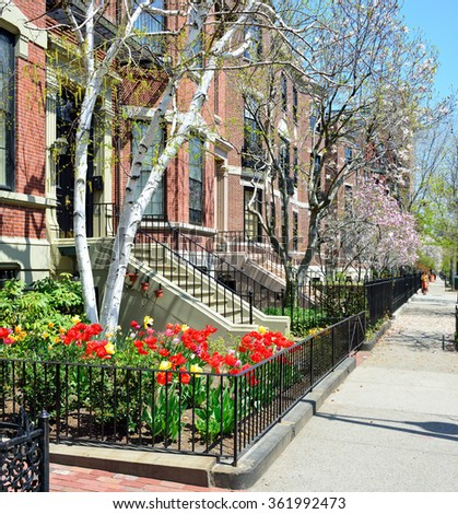 Boston Back Bay, Victorian apartments - stock photo
