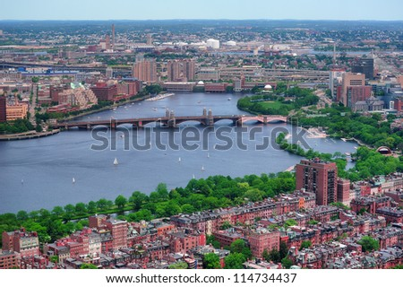 Boston Charles River aerial view with buildings and bridge. - stock photo