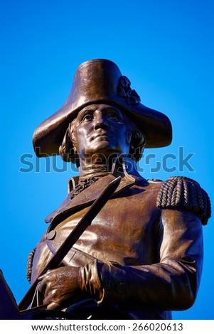 Boston Common George Washington monument at Massachusetts USA - stock photo