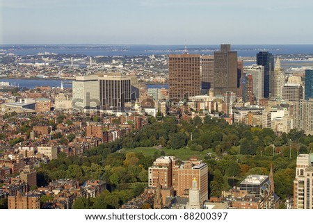 Boston Common Skyline View - Boston, Massachusetts, USA - stock photo