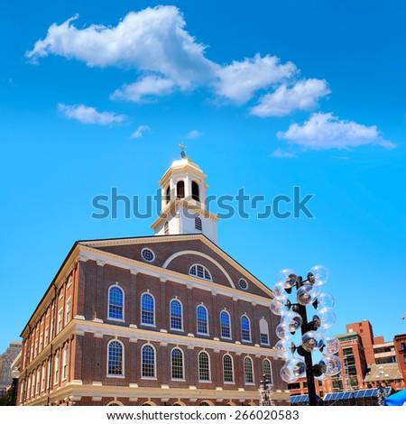 Boston Faneuil Hall marketplace in Massachusetts USA - stock photo