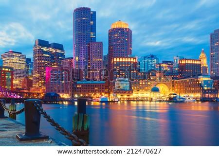 Boston Harbor and Financial District at sunset. Boston- Massachusetts, USA - stock photo
