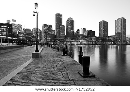 Boston Harbor and Financial District in Boston, Massachusetts. - stock photo