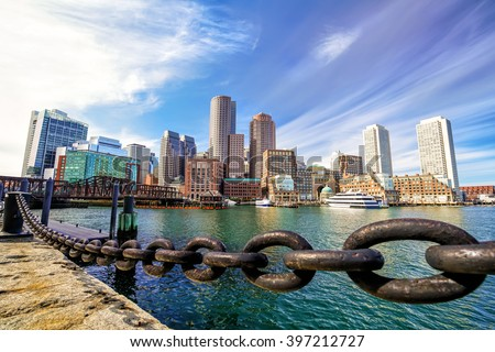 Boston Harbor and Financial District in Massachusetts. - stock photo