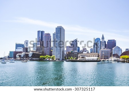 Boston Harbor and Financial District Skyline - stock photo