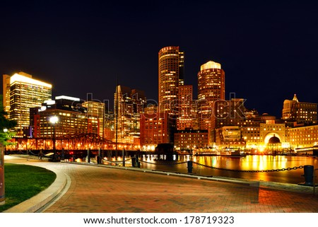 Boston harbor and skyline at night - stock photo