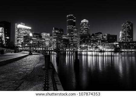 Boston Harbor at night in Black and White. Massachusetts, USA. - stock photo
