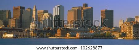 Boston Harbor from South Boston, Sunrise, Massachusetts - stock photo