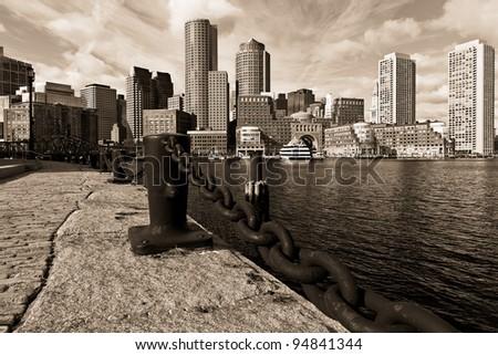Boston in Massachusetts, USA in Sepia Tone. - stock photo