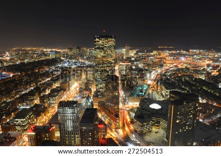 Boston John Hancock Tower and Back Bay Skyline at night, from top of Prudential Center, Boston, Massachusetts, USA - stock photo