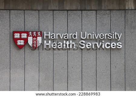 BOSTON, MA - CIRCA NOVEMBER 2014 - Harvard University Health Services is one of many U.S. medical facilities equipped to treat this year's cold and flu season. - stock photo