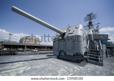 Boston, MA 2008:  Detail shots of the USS Cassin Young, a retired US Naval Fletcher-class destroyer.  Wide angle shot of an anti-aircraft gun. - stock photo
