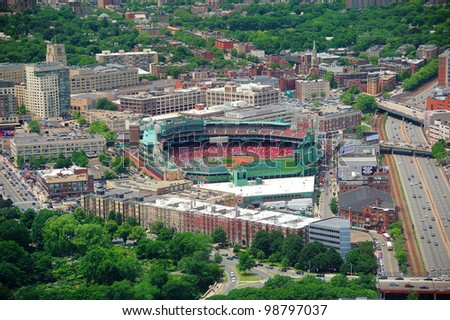 BOSTON, MA - JUN 19: Fenway Park aerial view on June 19, 2011 in Boston, Massachusetts. Fenway Park has served as the homeof the Boston Red Sox baseball club since 1912 as the oldest Baseball stadium. - stock photo