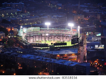 BOSTON, MA - JUN 20: Fenway Park at night on June 20, 2011 in Boston, MA. Fenway Park has served as the home ballpark of the Boston Red Sox baseball club since 1912, as the oldest Baseball stadium. - stock photo