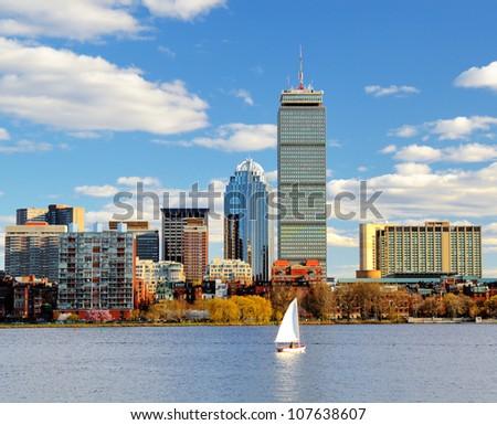 Boston, Massachusetts skyline at Back Bay. - stock photo