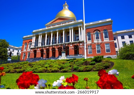 Boston Massachusetts State House golden dome in USA - stock photo