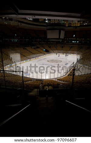 BOSTON -  MAY 23: Interior of the TD Garden on May 23, 2011 in Boston.  The TD Garden is home to the Boston Celtics and Boston Bruins. - stock photo