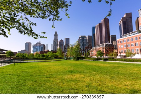 Boston North End Park and skyline in Massachusetts USA - stock photo