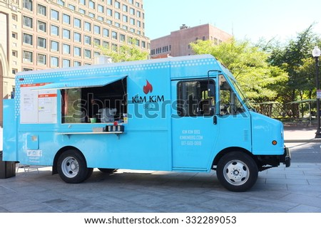 BOSTON, OCT. 7: Kim Kim BBQ food truck parked in downtown Boston, Massachusetts, United States taken on Oct. 7, 2015. - stock photo