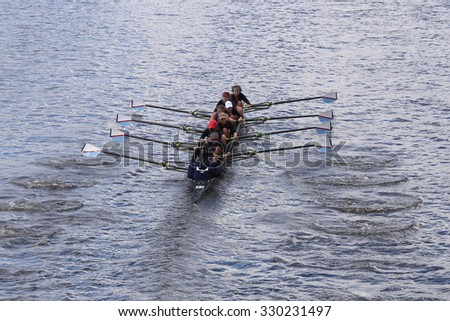BOSTON - OCTOBER 18, 2015: Detroit Rowing races in the Head of Charles Regatta Women's Youth Eights - stock photo