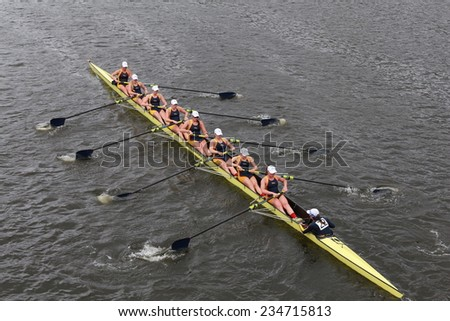 BOSTON - OCTOBER 19, 2014: Drexel University races in the Head of Charles Regatta Women's Championship Eights - stock photo