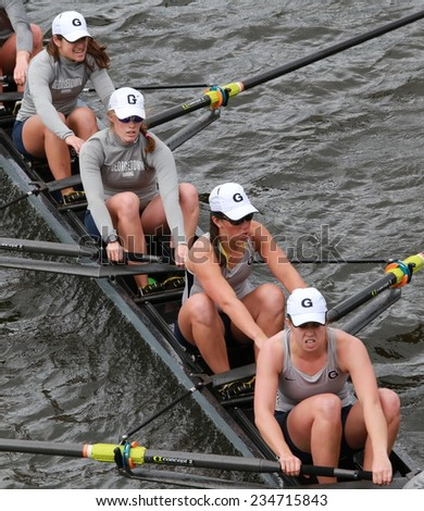 BOSTON - OCTOBER 19, 2014: Georgetown University races in the Head of Charles Regatta Women's Championship Eights - stock photo